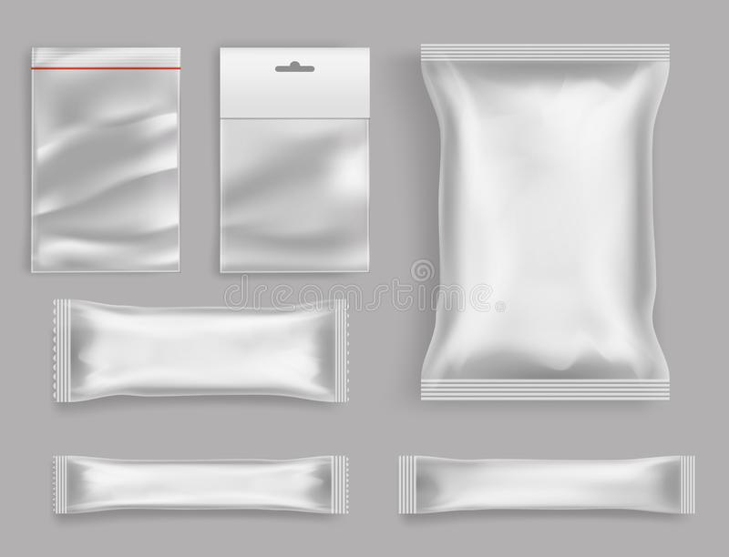 Products polyethylene packaging realistic vector. Goods polyethylene packaging types 3d realistic vector set isolated on grey background. Various size and form vector illustration