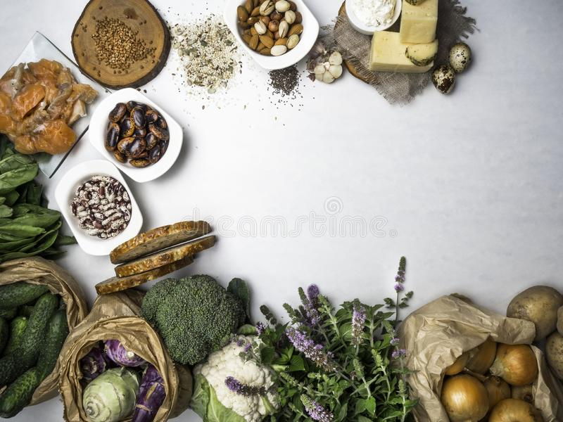 Products rich in amino acids. Protein sources and Super food for body builders, healthy food concept. Copy space royalty free stock images