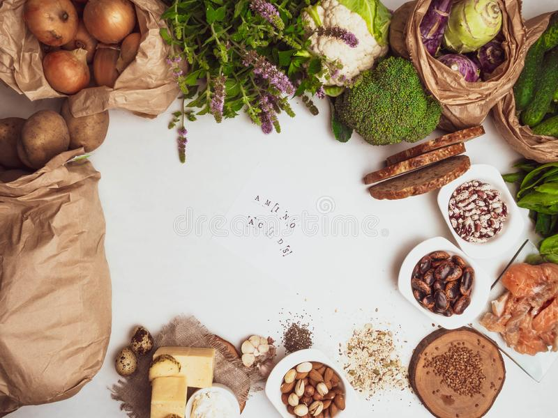 Products rich in amino acids. Protein sources and Super food for body builders, healthy food concept. Copy space royalty free stock photography