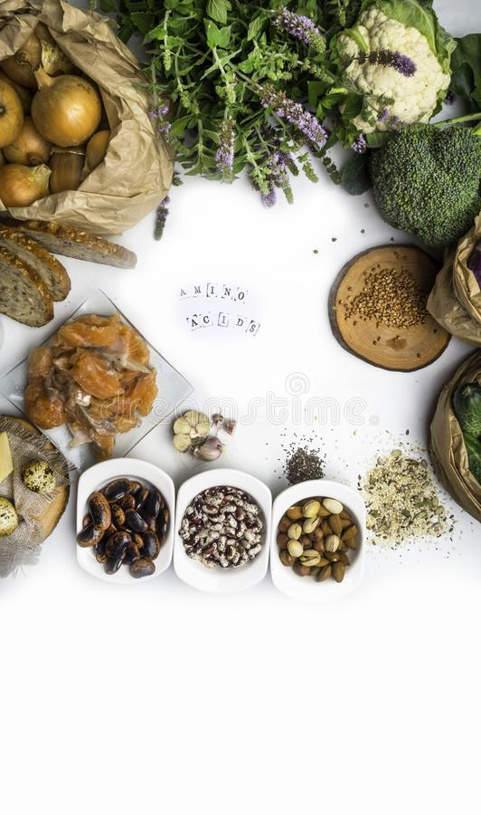 Products rich in amino acids. Protein sources and Super healthy food. Products rich in amino acids. Protein sources and food for bodybuilders, Healthy food royalty free stock photo