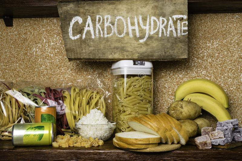 Products rich of complex carbohydrates. Foods Highest in Carbohydrates. Healthy diet eating concept. Fast and slow carbohydrates royalty free stock photos