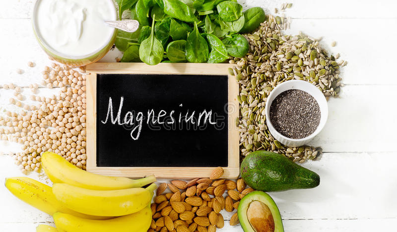 Products rich in magnesium. stock images