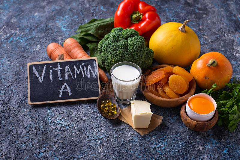Healthy products rich in vitamin A royalty free stock photography