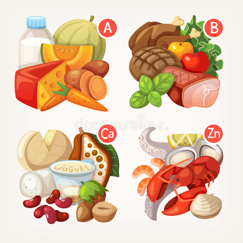 Products rich with vitamins stock illustration