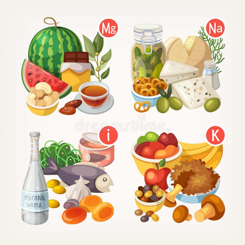 Products rich with vitamins and minerals royalty free illustration
