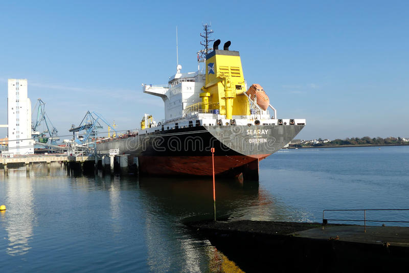 Products Tanker in operations at the Oil Terminal stock photos
