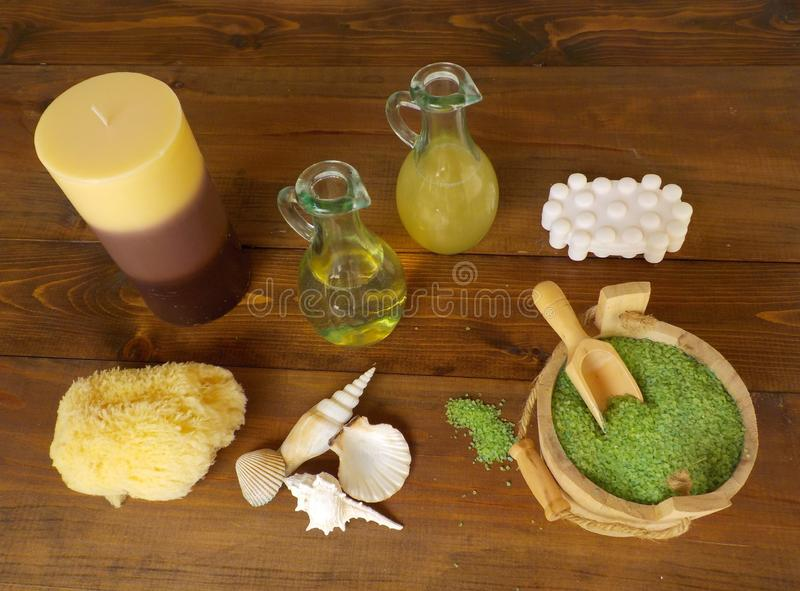 Products to prepare a relaxing and aromatic bath royalty free stock images