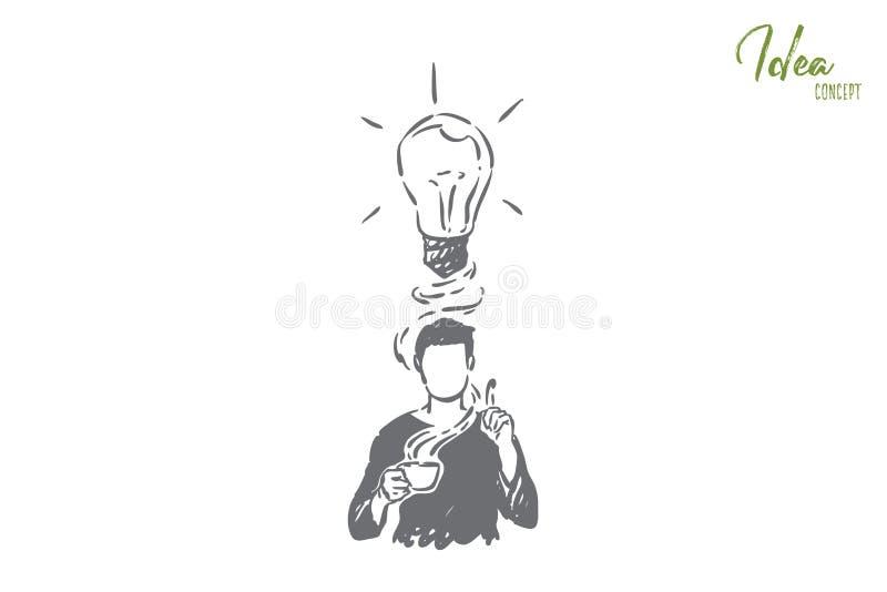 Produire des idées métaphore, homme avec des frais généraux d'ampoule illustration libre de droits