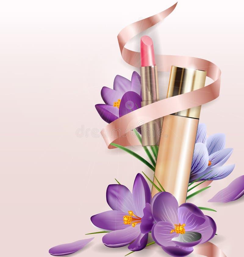 Produit, base, crayon correcteur, rouge à lèvres de creamwith et crocus cosmétiques de fleurs Beauté et fond de cosmétiques illustration de vecteur