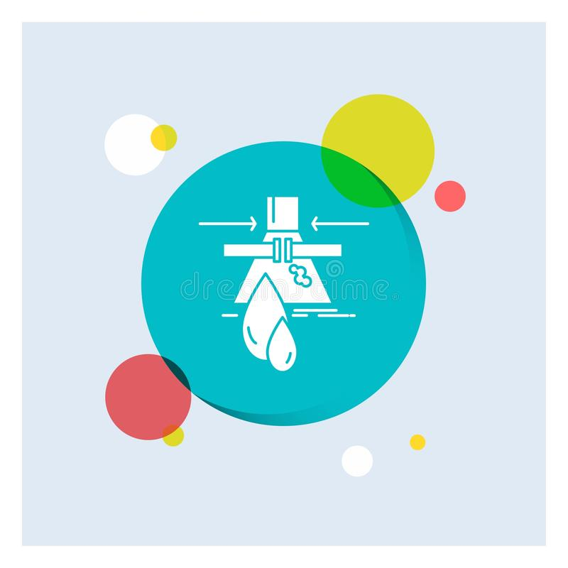 Produit chimique, fuite, détection, usine, fond coloré de cercle d'icône blanche de Glyph de pollution illustration libre de droits