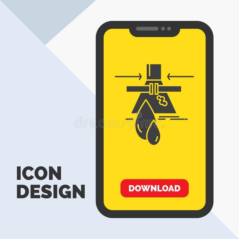 Produit chimique, fuite, détection, usine, icône de Glyph de pollution dans le mobile pour la page de téléchargement Fond jaune illustration libre de droits