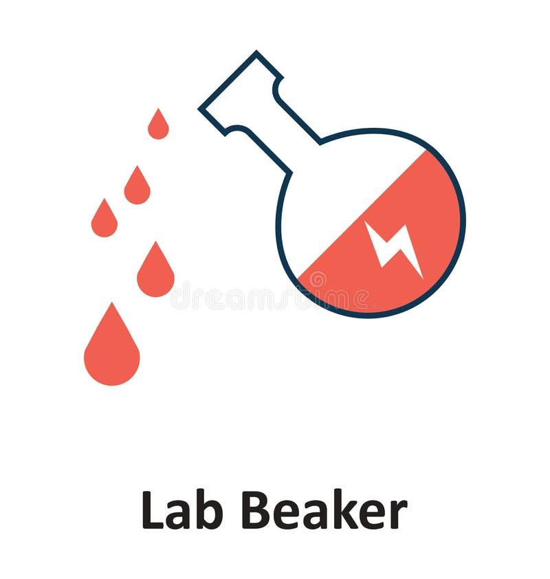 Produit chimique jeté au becher d'isolement et à l'icône de vecteur pour la technologie illustration de vecteur