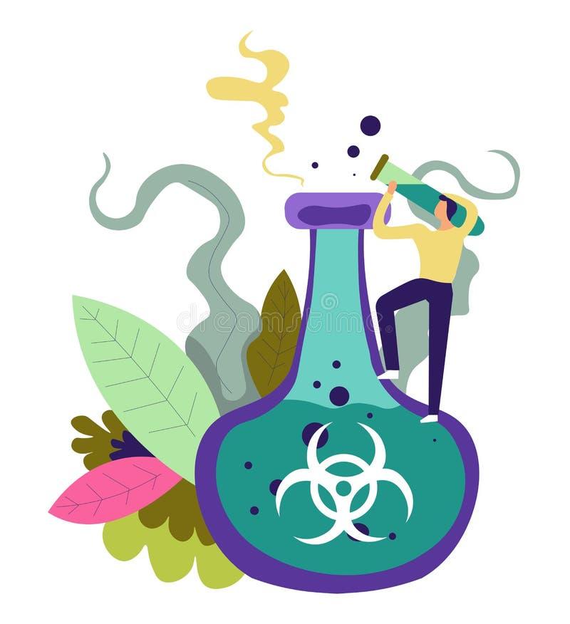 Produit chimique pour sauver le vecteur de personnes et d'humanité illustration de vecteur
