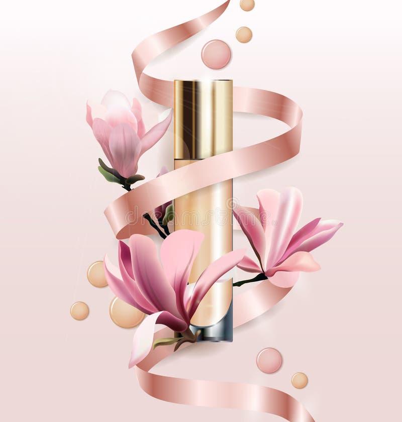 Produit cosmétique, base, crayon correcteur, crème avec des fleurs Belle bouteille avec la magnolia de fleurs Vecteur illustration libre de droits
