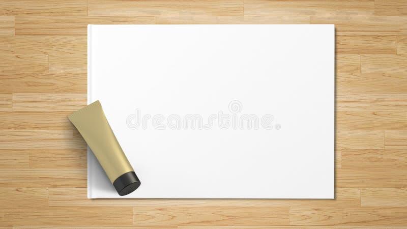 Produit cosmétique d'isolement, vue supérieure sur le livre blanc image stock