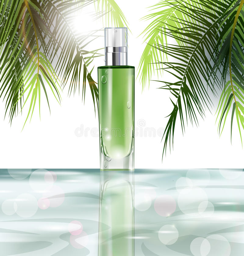 Produit cosmétique, maquette réaliste de tube pour la lotion, gel, sur un fond de l'eau et des feuilles des palmiers Vecteur illustration stock
