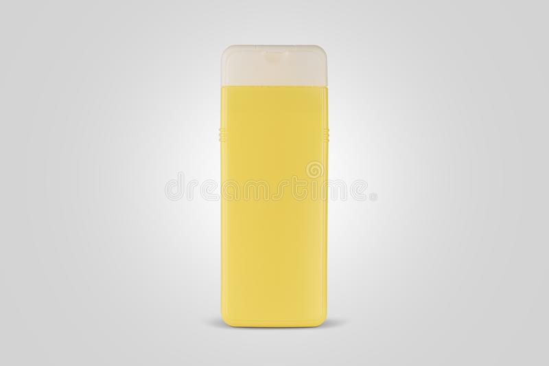 Produit cosmétique pour le shampooing Paquet jaune de produit images libres de droits