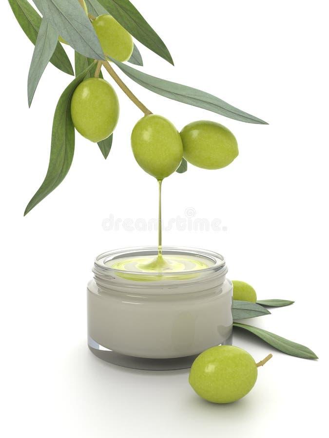 Produit de beauté d'huile d'olive. illustration stock