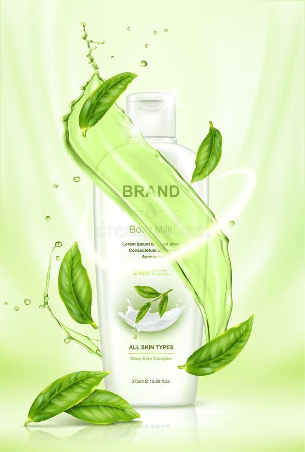 Produit de soin pour la peau de thé vert avec des feuilles de thé de vol et des éléments d'éclaboussure de l'eau illustration stock