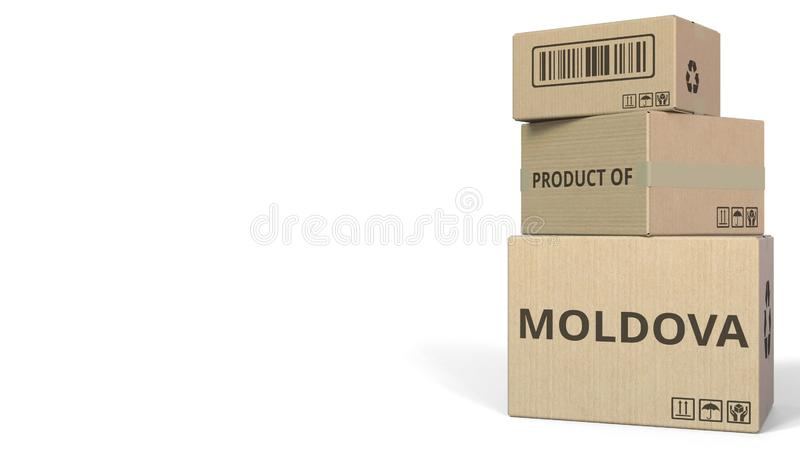 PRODUIT de texte de MOLDAU sur des cartons Rendu 3d conceptuel illustration libre de droits
