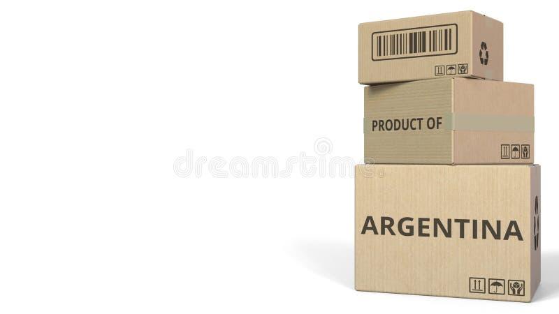 PRODUIT du texte de l'ARGENTINE sur des cartons, espace vide pour la légende rendu 3d illustration libre de droits