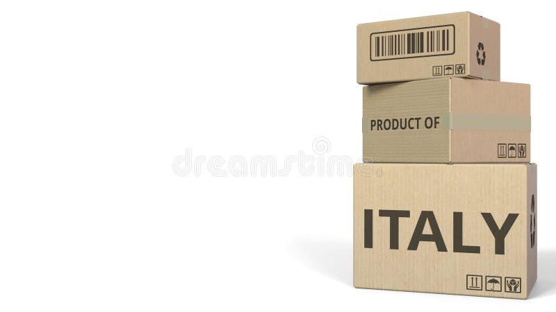 PRODUIT du texte de l'ITALIE sur des cartons, espace vide pour la légende rendu 3d illustration libre de droits