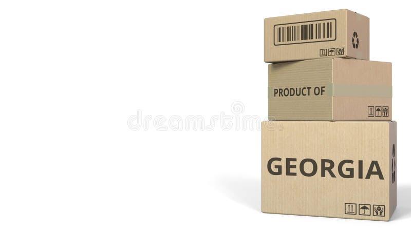 PRODUIT du texte de la GÉORGIE sur des cartons, espace vide pour la légende rendu 3d illustration stock