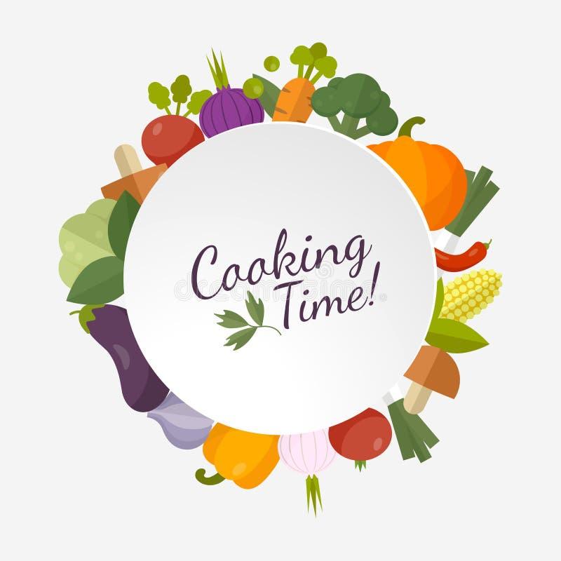 Produit-légumes frais de vegetables Concept de régime et d'aliment biologique Style plat de conception illustration stock