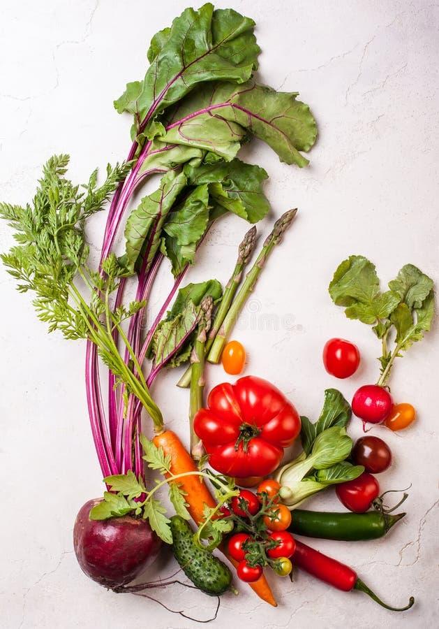 Produit-légumes frais de vegetables Vue supérieure Consommation saine images stock