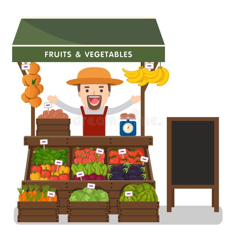 Produit local de légumes des ventes des exploitants du marché illustration libre de droits