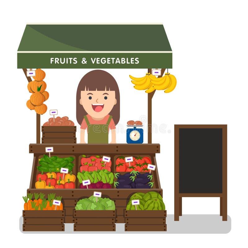 Produit local de légumes des ventes des exploitants du marché illustration de vecteur