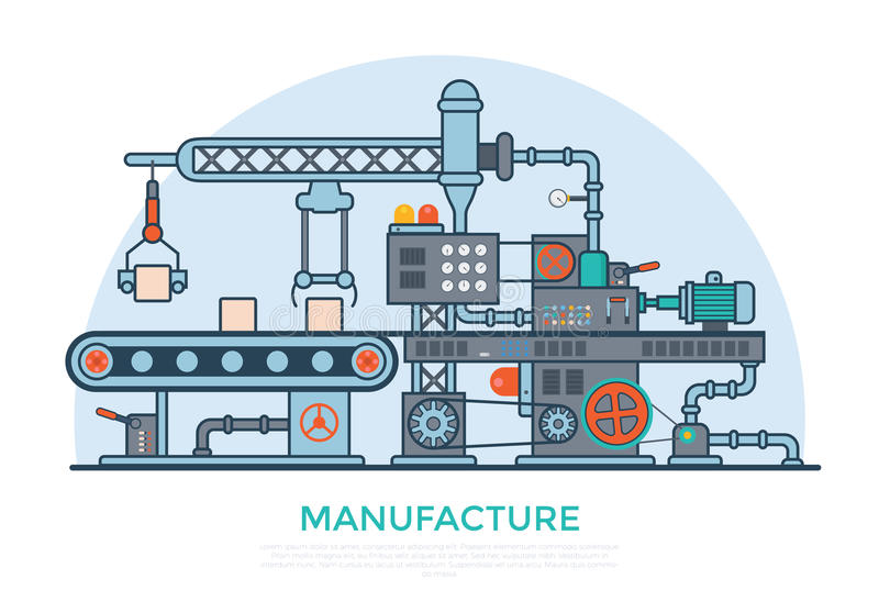 Produit plat linéaire p de machine de convoyeur de fabrication illustration stock
