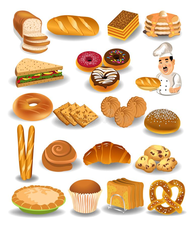 Produits collection, pain, biscuits, tarte de boulangerie illustration stock