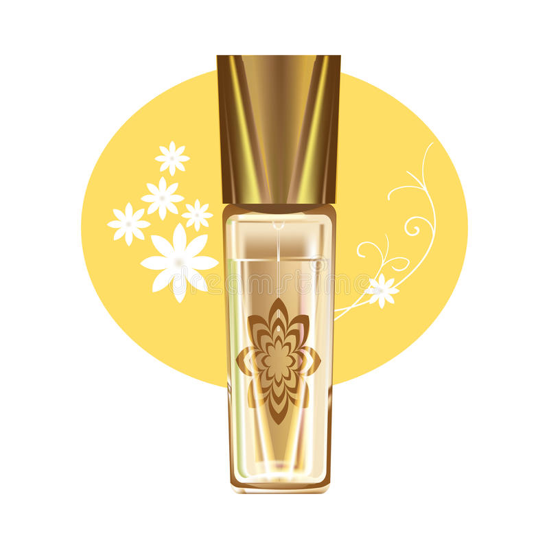 Produits cosmétiques réalistes Belle bouteille en verre avec le parfum parfumé féminin illustration libre de droits