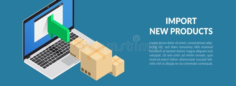 Produits d'importation Stockez la mise à jour de produit Illustration de vecteur photographie stock libre de droits