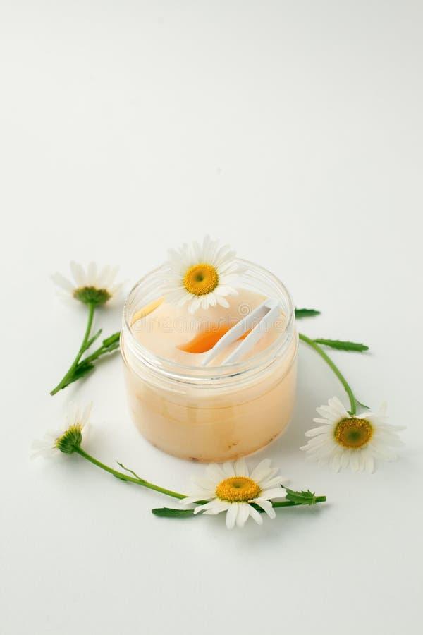 produits de beauté basés sur usine Les protections de yeux avec l'extrait de fines herbes, camomille fleurit, concept de produit  images stock