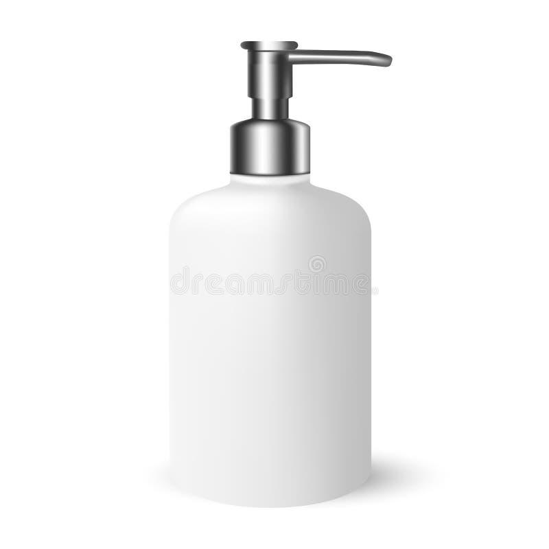 Produits de beauté blancs de Gray Cosmetic Bottle avec le chapeau argenté de pompe illustration libre de droits