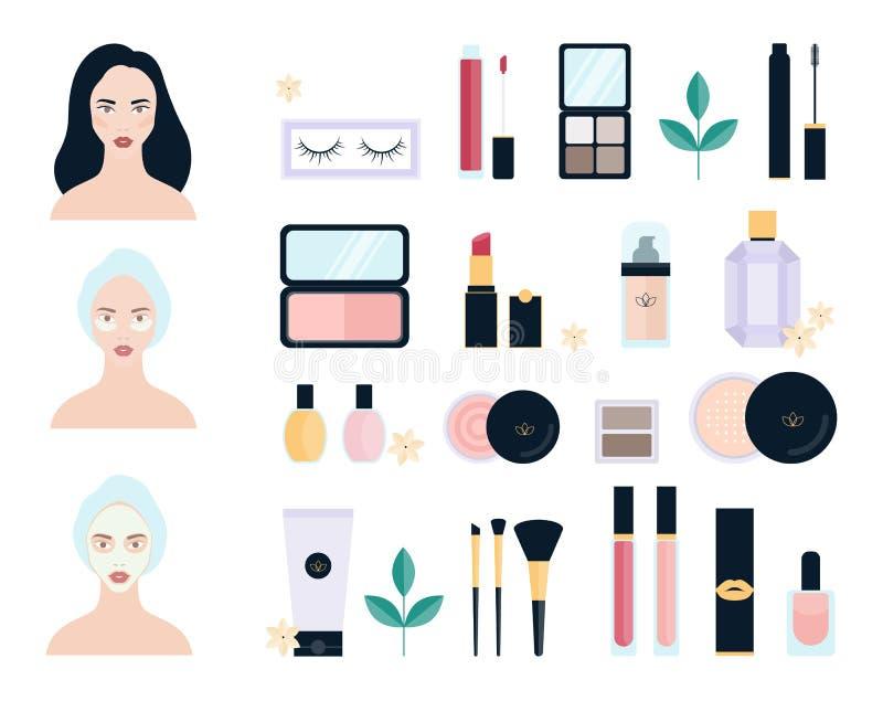 produits de beaut? r?gl?s Collection de brosse et de rouge à lèvres de maquillage illustration stock