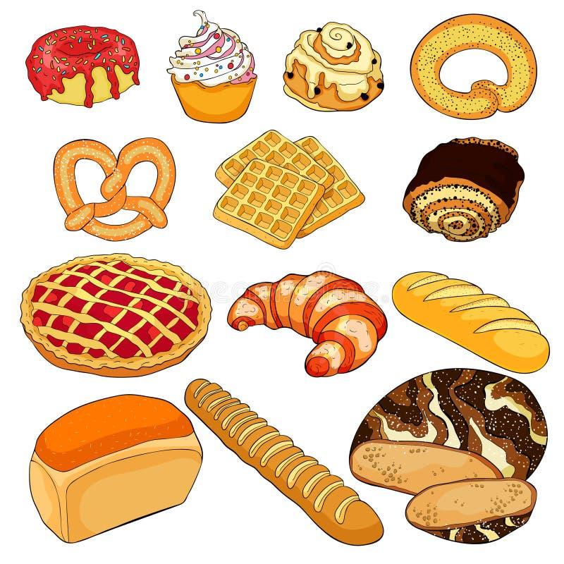 Produits de boulangerie dans l'assortiment Illustration de vecteur illustration libre de droits