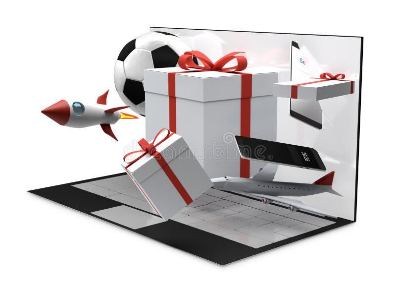 Produits de bureau 3d-illustration de cadeaux d'ordinateur illustration de vecteur