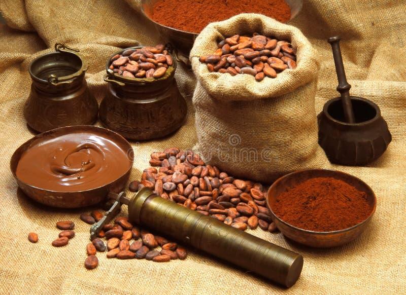 Produits de cacao image stock