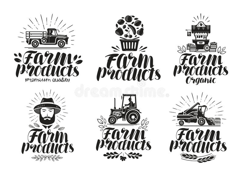 Produits de la ferme, ensemble de label Agriculture, logo d'agriculture ou icône Illustration de vecteur de lettrage illustration libre de droits