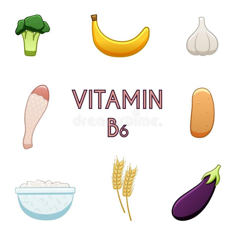 Produits de la vitamine B6 illustration libre de droits