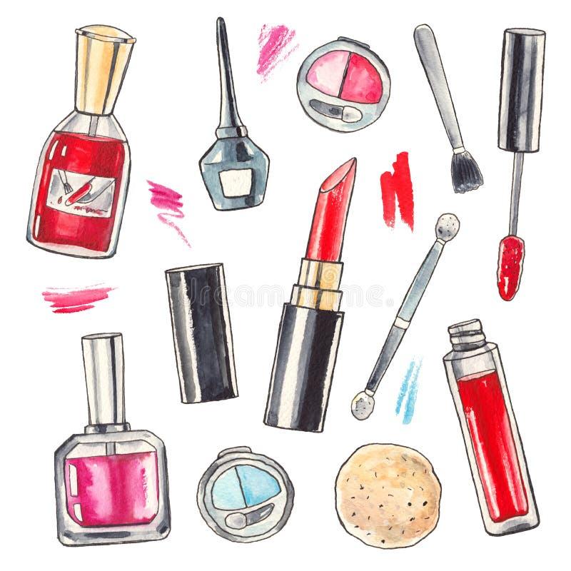 Produits De Maquillage D 39 Aquarelle R Gl S Illustration