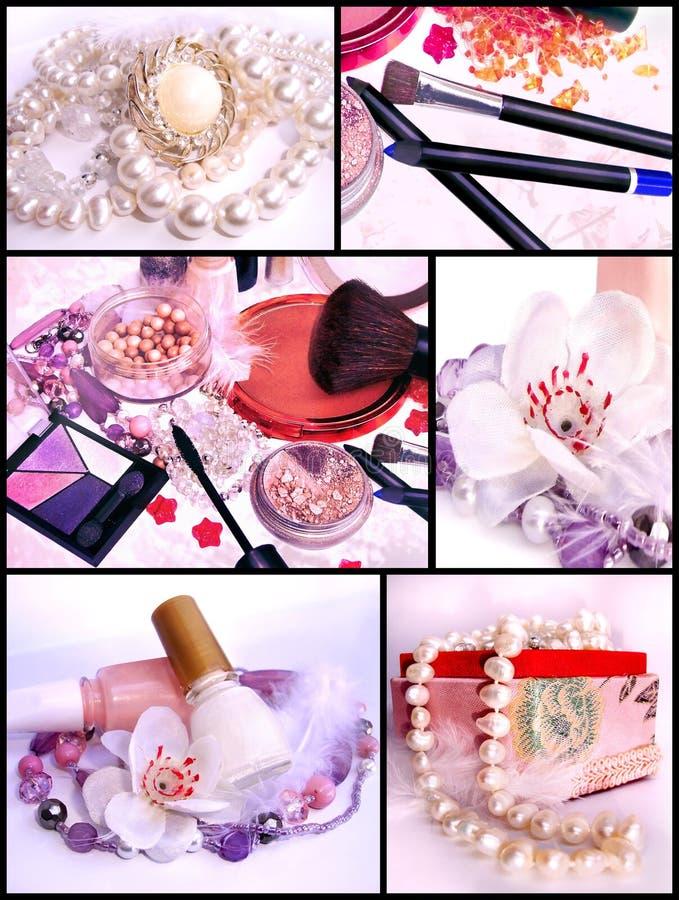 Produits de maquillage et bijoux - collage photo libre de droits