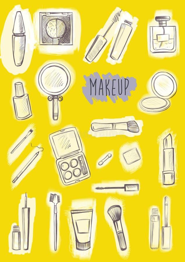Produits de maquillage réglés image libre de droits