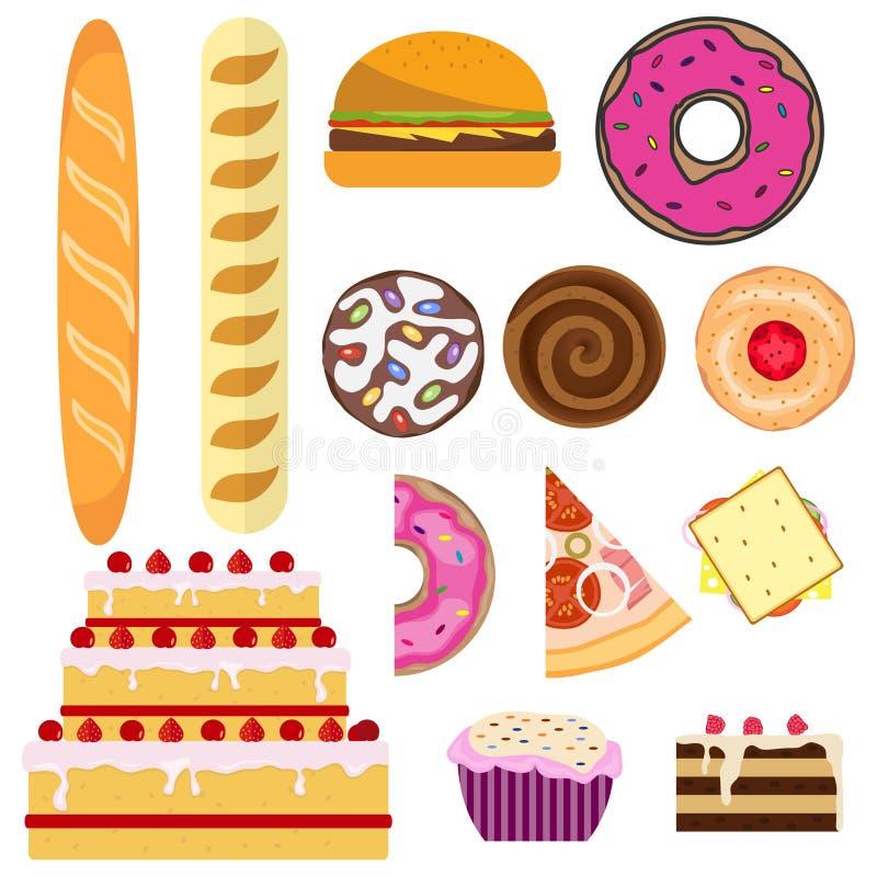 Produits de pain et de boulangerie Pain, gâteau, gâteau, beignet, biscuits, pizza illustration stock