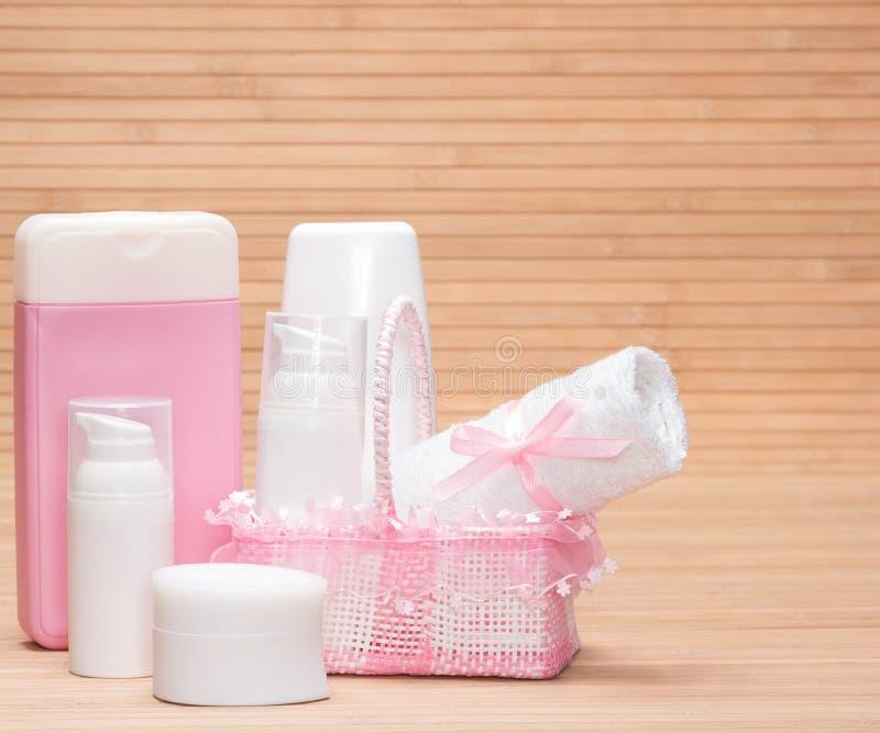 Produits de soin pour la peau de bébé images libres de droits