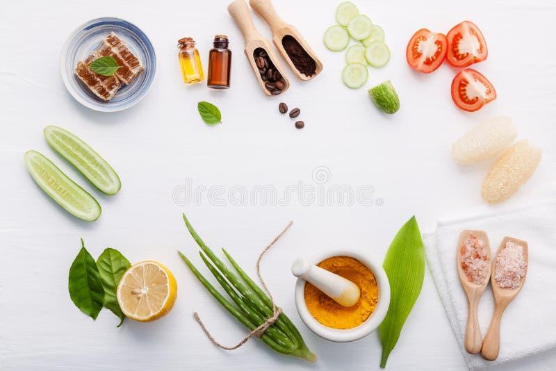 Produits de soin pour la peau de fines herbes naturels Concombre d'ingrédients de vue supérieure images stock