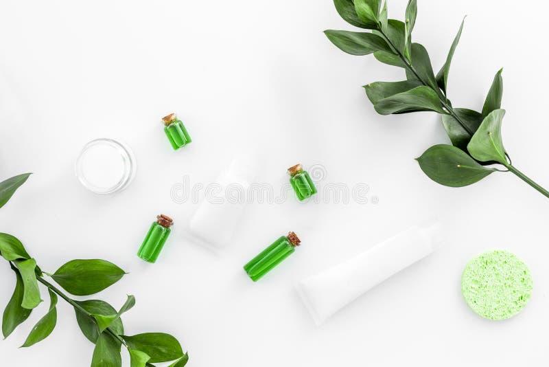 Produits de soin pour la peau organiques Crème, lotion, tonique huilez près des feuilles vertes sur la vue supérieure de fond bla images libres de droits